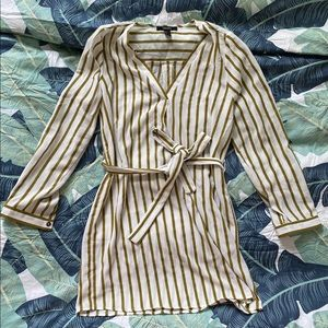 White and olive striped, belted dress